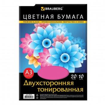 Бумага цветная двухсторонняя а3, 20 листoв, 10 цветов, тонированная, 297х4