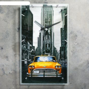 Часы настенные, серия: транспорт, ретро авто, стекло, 35х60  см, микс