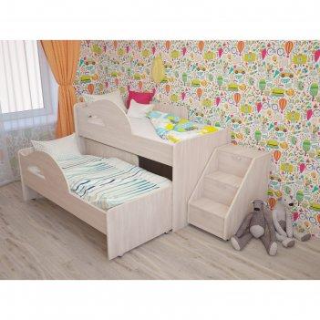 Кровать двухъярусная выкатная матрешка 800х1600 с лестницей млечный дуб