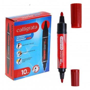 Маркер перманентный, двухсторонний, круглый, 5 мм/3 мм, красный, calligrat