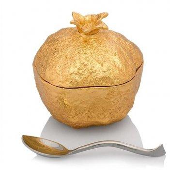 Банка для мёда с ложкой michael aram гранат 8см (золотистая)