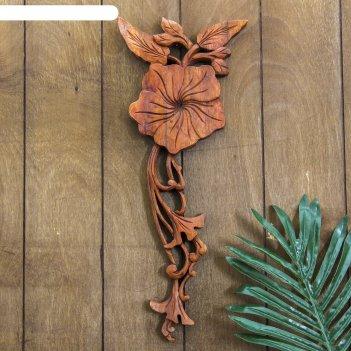 Панно декоративное плумерия коричневый цвет 39х15х2 см
