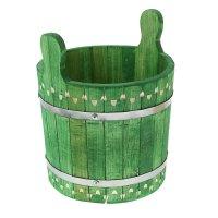 Запарник-ушат 8 литров, крашеный резной, цвет еловая зелень