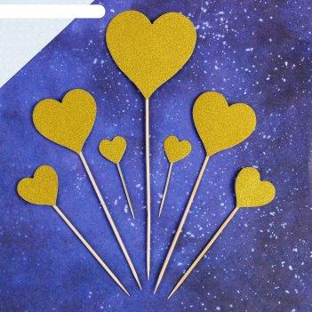 Топпер «сердце», набор 7 шт., цвет золотой