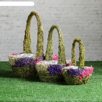 Набор кашпо «соцветие», 3 шт, 23x16x10/29, 18x12x8/24, 13x7x7/20 см, трава