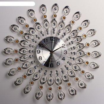 Часы настенные, серия: ажур, стальные перья,  d=69 см