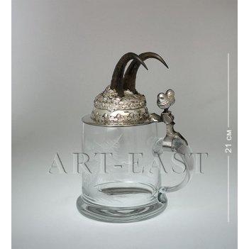 W-516-1g пивная кружка с рожками серны с гравировкой