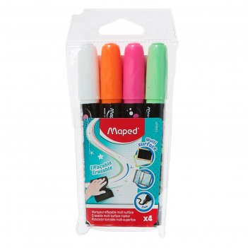Набор маркеров перманентных 4 цвета maped, пластиковый футляр