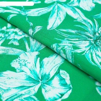 Ткань плательная, штапель, ширина 140 см, зелёный, rh 23/007