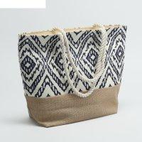 Сумка текстильная орнамент, 31*13*36, отд на молнии, синий