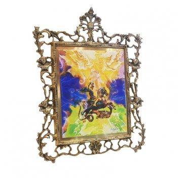 Панно настольное в бронзовой раме  св. георгий победоносец