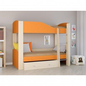 Детская двухъярусная кровать «астра 2», цвет дуб молочный/оранжевый