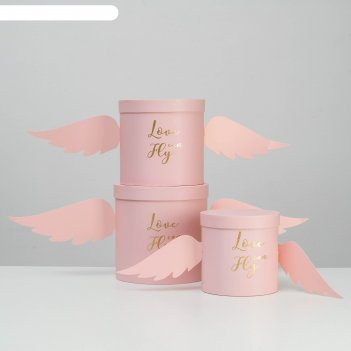 Набор коробок 3 в 1 крылья, розовый, 21,5 х 21,5 - 16,5 х 16,5 см