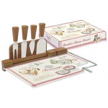Набор д/сыра: разделочная доска (стекло) + 4 ножа fromage в подарочной упа