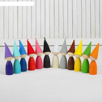 Сортер разноцветные гномики 12 шт., в колпаках