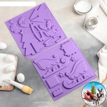 Форма для шоколада и выпечки 3d новогодняя упряжка с подарками 30x30x1 см,