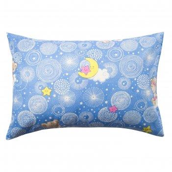 Наволочка экономь и я мишки цв.голубой,50*70±3 см,бязь 100 гр/м2