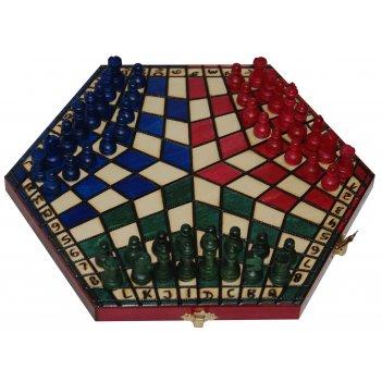 "Шахматы ""на троих"" малые (польша, дерево, 28х16х4 см)"