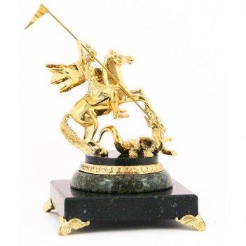 Бронзовая статуэтка «георгий-победоносец» камень змеевик
