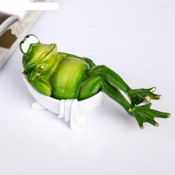 Сувенир полистоун лак лягуха в ванной 9х18,5х10 см