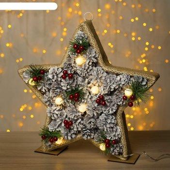 Фигура дерев звезда шишки 38х5х38 см (3xaa не в компл.) 8 led, тепло-белый