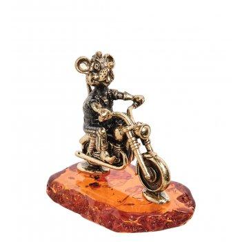 Am-1847 фигурка мышь байкер (латунь, янтарь)