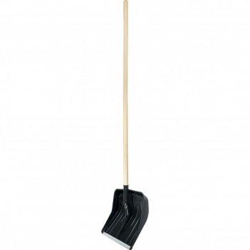 Лопата для уборки снега пластиковая, 360х405х1550 мм, деревянный черенок в