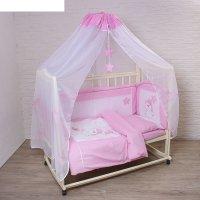 Комплект в кроватку котик (7 предметов), цвет розовый 7060роз