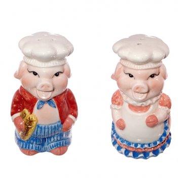 Набор для специй (солонка, перечница) свинка, l 6 w6 h11 см, (б/инд.уп)