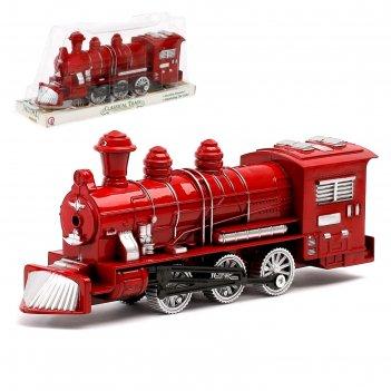 Поезд инерционный паровоз,цвета микс