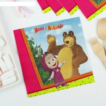 Бумажные салфетки маша и медведь, 33 см, набор 12 шт.