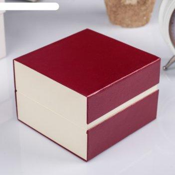 Шкатулка картон, бархат под часы 1 отделение рябь красная 7,5х10,5х10,5 см