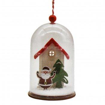 Набор для творчества - создай елочное украшение  дед мороз у дома в колбе
