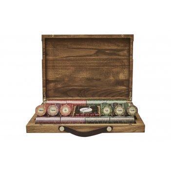 Набор для покера luxury ceramic на 500 фишек в кейсе из ясеня