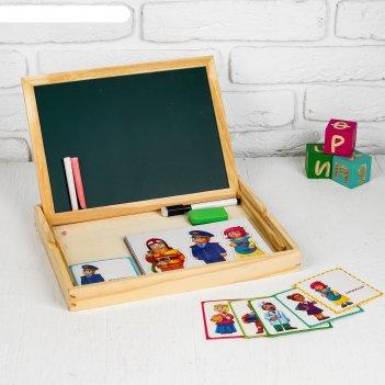 Конструктор магнитный профессии в деревянной коробке + набор игровых карто