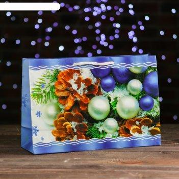 Пакет подарочный шишки и шары, 24,5 х 36 х 12 см