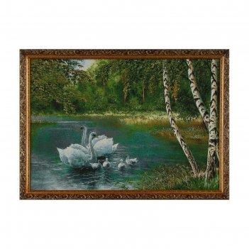 Гобеленовая картина  белые лебеди у берёзок 40*57см