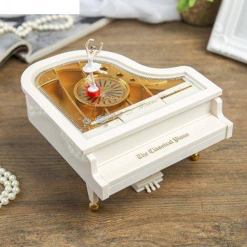 Шкатулка музыкальная механическая белый рояль с балериной 10,5х17,5х18,5 с