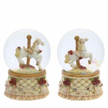 Фигурка декоративная в стекл. шаре лошадка d4,5 см, l4,5 w4,5 h6,5 см, 2в.