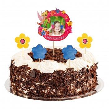 Топперы в торт с днем рожденияфея с фоторамкой