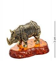 Am-1503 фигурка носорог броненосец (латунь, янтарь)