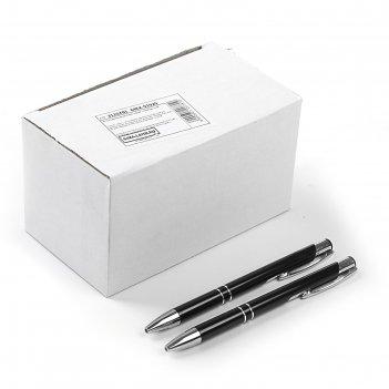 Ручка шариковая, автоматическая, корпус металлический чёрный, стержень син