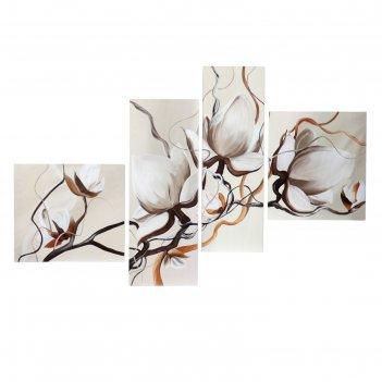 Модульная картина на подрамнике цветы магнолии, 2 — 40x44,5, 2 — 28x75, 13