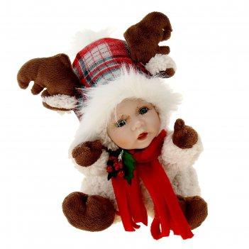 Кукла коллекционная керамика малыш в костюме лосика с колпаком 27 см