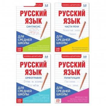 Шпаргалки для средней школы набор «учим русский язык», 4 шт