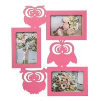 Фоторамка-коллаж совы 3 фото розовый