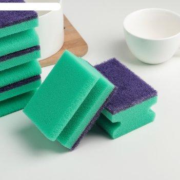 Набор губок для посуды 9,4x7x4,7 см хэнди, 5 шт, цвет микс