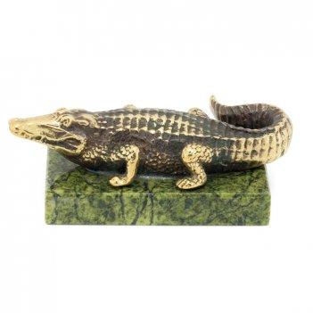 Статуэтка крокодил большой бронза змеевик