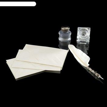 Письменный набор александр пушкин (перо, чернильница, чернила, конверты)