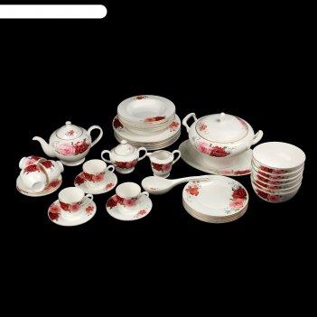 Сервиз столовый розабелла, 42 предметов: чайник, молочник, сахарница, 6 ча